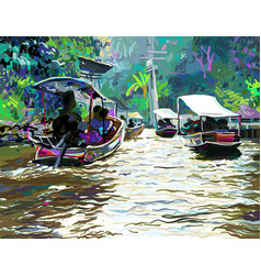 digital painting of thailand river plein air vector image