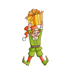 flat elf boy holding present box vector image