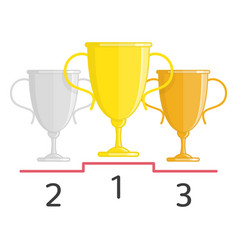 gold silver and bronze winners cup vector image