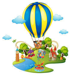 many kids in amusement park vector image vector image