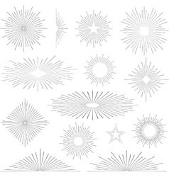 Set of vintage retro sunbursts vector image vector image