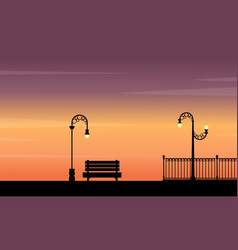 Street lamp and chair landscape at sunset vector