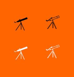 telescope black and white set icon vector image vector image
