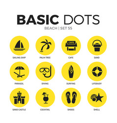 beach flat icons set vector image