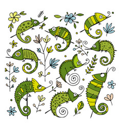 chameleon collection sketch for your design vector image vector image