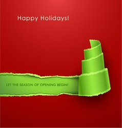 christmas tree torn paper vector image vector image