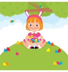 Happy children in rabbit costume for Easter holida vector image