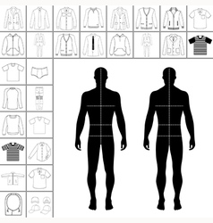 Man clothing outlined template set vector image vector image
