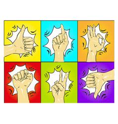 pop art hands gestures vector image vector image