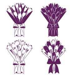 Tulip bouquet silhouette vector image vector image