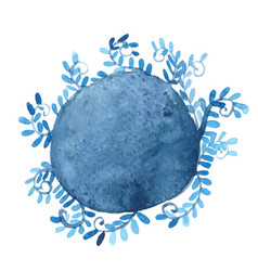 Abstract blue ivy in round banner watercolor vector