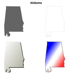 Alabama outline map set vector image