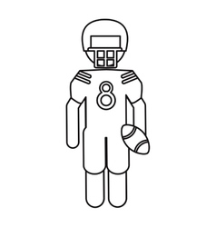 American football player with helmet and ball vector