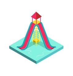Aqua park water slide isometric 3d element vector