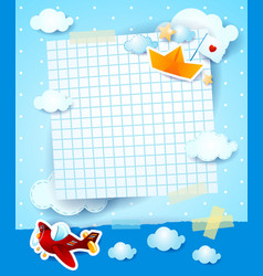 Baby shower invitation with airplane and paper vector