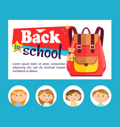 Back to school banner backpack and pupils avatars vector