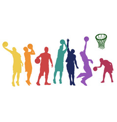 basketball players silhouette in different vector image