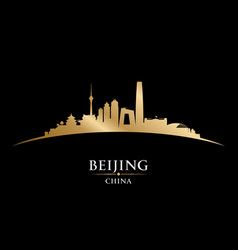 beijing china city skyline silhouette black vector image