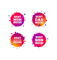 best mom and dad son daughter icons vector image