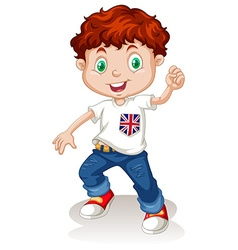 British boy wearing jeans vector image