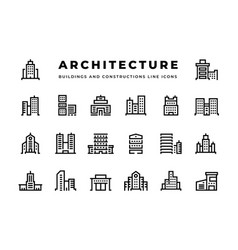building line icons cityscape with skyscrapers vector image