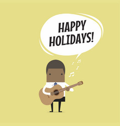 Businessman playing guitar and sing happy holidays vector