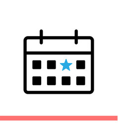 calendar with star icon vector image