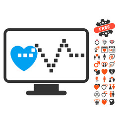 cardio monitoring icon with love bonus vector image