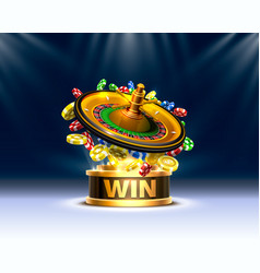 Casino roulette big win coins on red vector