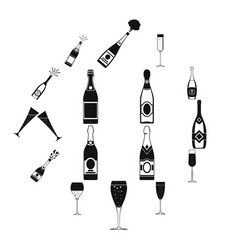 champagne bottle glass icons set simple style vector image