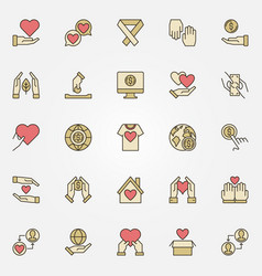 Charity and donation creative icons set vector