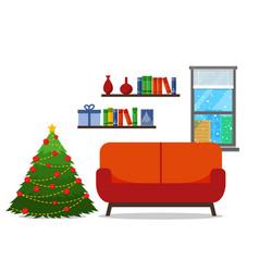 christmas room interior christmas tree wih sofa vector image