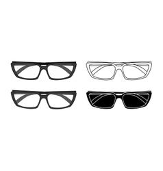 Classic glasses set Contour black color vector image