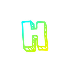 Cold gradient line drawing cartoon letter h vector