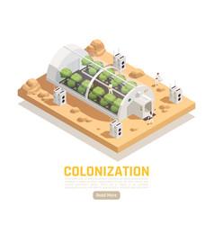 Colonization hothouse isometric background vector