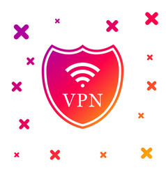 Color shield with vpn and wifi wireless internet vector