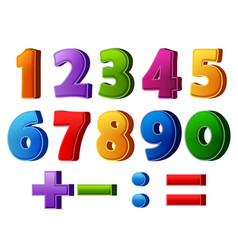Colorful numbers and mathematical operations vector