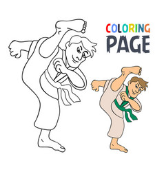 Coloring page with karate martial art player vector