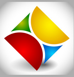 Creative multicolor square logotype made 4 vector