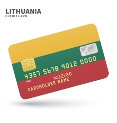Credit card with Lithuania flag background for vector