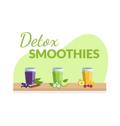 Detox smoothies banner template with fresh drinks vector