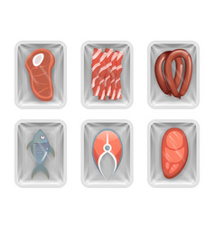 Disposable food pack meat fish sausage bacon vector