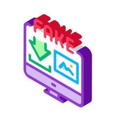 Downloading fake image isometric icon vector