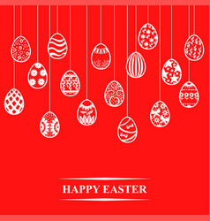 easter card with decorative contour eggs hang vector image