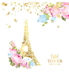 eiffel tower icon with golden confetti falls vector image