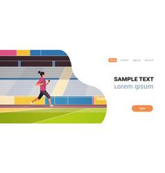 fitness woman running stadium track girl listening vector image
