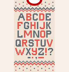 folk christmas font scandinavian knitted vector image