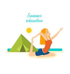 Girl relaxes restores power to beach summer vector