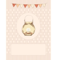 Glass jar with a candle and flags vector image