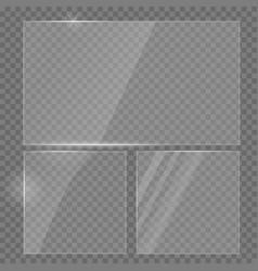 Glass plate realistic set transparent vector
